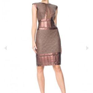 Tadashi Shoji Leatherette Textured Jacquard Dress